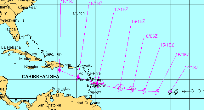 National Hurricane Ceter focast track from August 14 through August 19 before it moves over Haiti