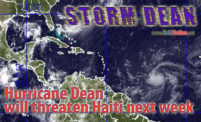 Satellite image shows Tropical Storm Dean's current location 600 miles East of the Caribbean